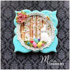 Sugar cookie, Royal icing, modeling chocolate, edible lace and fondant details. Easter Cookies, Fun Cookies, Easter Treats, How To Make Cookies, Cupcake Cookies, Sugar Cookies, Frosted Cookies, Cupcakes, Decorated Cookies