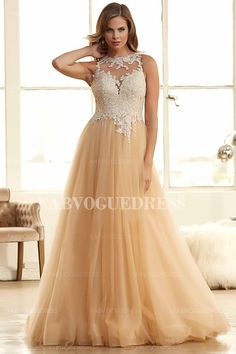 A-Line/Princess Jewel Floor-length Tulle Prom Dress