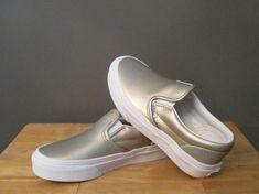 b0b3f667df95 Vans Little Kid Girl Gold (Muted Metallic) Classic Slip-On Sneakers US 12