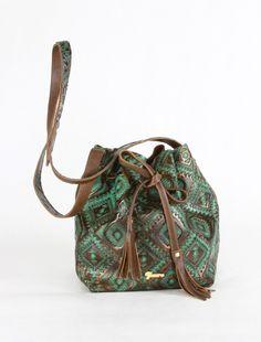 Bohemian Ikat and Brown Pebble Grain Leather Bucket Bag