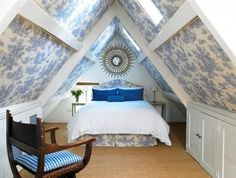 Attic bedroom, love the wallpaper