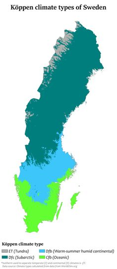 Köppen climate classification types of Sweden Swedish Girls, Weather And Climate, Country Maps, Popular Music, Pop Group, Chemistry, Norway, Sweden, Fictional Characters