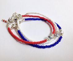 Patriotic Single Stone Stackable Bracelet Set of 3 by JuneandPenny, $8.00