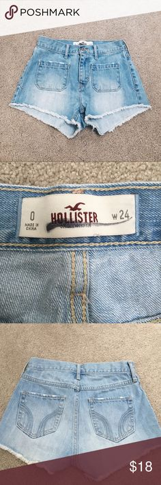 🔆NWOT Hollister co jean shorts Perfect condition/ 2 pockets in front and back/ fringey at bottom/ size 0/ width 24 Brandy Melville Shorts Jean Shorts