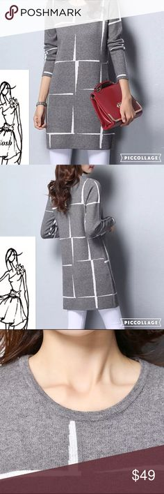 Coming..Classic Stunning Gray Abstract Dress Beautiful, Classical Gray & White Abstract Print Sweater Dress. Wear as a mini or with white or gray jeans/leggings. Sweater has rounded  neckline & long sleeves. Beautiful! Cosb Dresses Mini