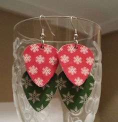 Guitar Pick Earrings - SnowFlakes  by BetsysJewelry. Save 15% off orders of $5.00 or more using Discount Code: BetsysHD2014 at check out!