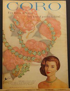 1960 CORO Jewelry LUSTRE LEAVES necklace~ bracelet ~earrings~ pin Ad | eBay