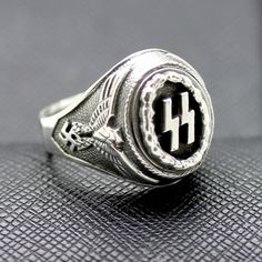 GERMAN SS RING WAFFEN EAGLE SWASTIKA SILVER http://antiq24.com/product/german-ss-ring-waffen-eagle-swastika-silver/