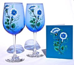 Hand Painted Blue Wine Glasses With Wine Glass by ipaintitpretty