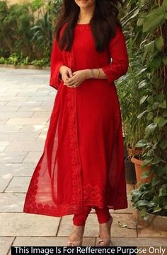 Resham embroidered georgette red churidar suit indian designer wear в 2019 Indian Gowns, Indian Attire, Pakistani Dresses, Indian Wear, Indian Outfits, Indian Suits Punjabi, Indian Fashion Dresses, Mode Bollywood, Bollywood Fashion