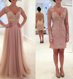 Long sleeve prom dress, detachable prom dress, dusty pink prom dresses, prom…