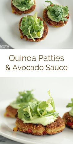 Quinoa Patties with Avocado Sauce, delicious fresh healthy meatless dinner for vegetarians or anyone who wants to cook meatless for a meal!