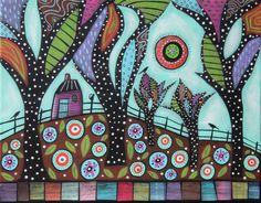 Cat On Post ORIGINAL CANVAS PAINTING Folk Art Abstract Birds House Cabin Karla G #FolkArtAbstractPrimitive