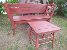 Two antique chairs re-purposed into a garden bench with front legs used for side table.  Darrell's Refinished & Recycled Antiques and Primitives https://www.facebook.com/groups/331221526959691/