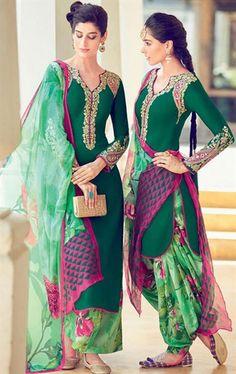 Stylish Bottle Green Cotton Salwar Kameez