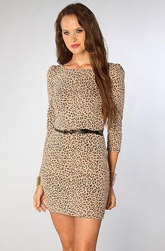 *LA Boutique The Leopard Belted Dress in Dusty Pink Black : Karmaloop.com - Global Concrete Culture, cuz every girl needs a leopard print dress :)