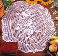 Crochet Heklanje: Šema 198 - Ovalna salveta sa ružama