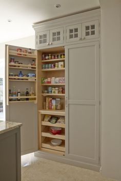 Contemporary Shaker Kitchen - designed by Higham Furniture 3 Kitchen Larder, Kitchen Cabinetry, Kitchen Redo, New Kitchen, Kitchen Storage, Kitchen Remodel, Wall Cabinets, Cabinet Doors, Kitchen Organization