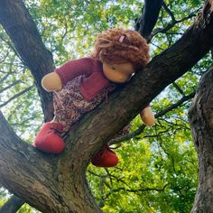 Simone - a 14''/35 cm tall Handmade Waldorf Doll | > Available Dolls | MonPilou Organic Cleaning Products, Mohair Yarn, Crochet Collar, Liberty Fabric, Waldorf Dolls, Sheep Wool, Fair Skin, Her Hair, Hand Knitting
