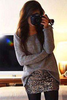 Falda de lentejuela con suéter