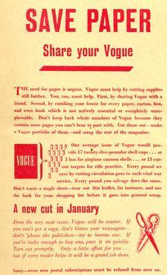 """""""SAVE PAPER... share your Vogue"""""""