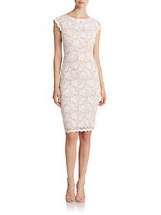 ABS - Lace Cap-Sleeve Dress