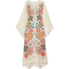 Chloé Floral-print jacquard kaftan (37,305 MXN) ❤ liked on Polyvore featuring tops, tunics, dresses, chloe, floral tunic, floral print tunic, flower print tops, summer kaftans and floral tops