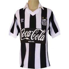 Camisa retrô SANTOS Listrada LOGO coca cola
