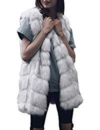c0bb350e886 Lazzboy Womens Coat Gilet Jacket Warm Faux Fur Block Fluffy Solid Fashion  Outerwear Female Ladies Oversized