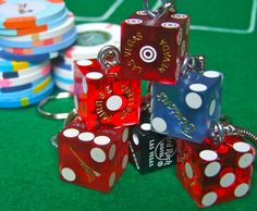 Authentic Las Vegas Casino Craps Dice Keyring