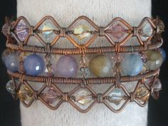 Copper wire wrapped cuff bracelet with dyed agate & Swarovski crystals