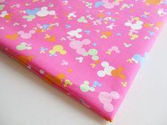 Pink Mickey Minnie Disney style Cartoon fabric by PeacyFabrics