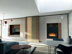 ROOMY Módulo de arrumação de parede com suporte para TV by Caccaro design Sandi Renko, R&D Caccaro