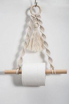 Etsy Macrame, Macrame Art, Macrame Projects, Macrame Mirror, Macrame Curtain, Weaving Projects, Paper Roll Holders, Paper Towel Holder, Towel Holder Bathroom