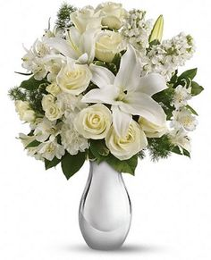 all-white-flowers $125.00 All white flower arrangements of the most beautiful flowers including white roses, white lilies and more,  delivered in Vancouver BC  by Flowers on 1st. When you wish to send a message to a friend or loved one you care, this flower arrangement help you to do just that. Call to order or use our secure order form online. We deliver to all areas around the lower mainland British Columbia.