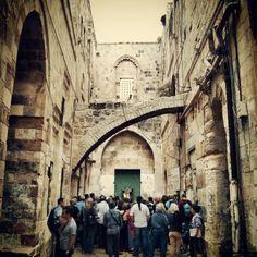Architecture influenced by the Mamluk sultanate around 13th century. In the Muslim Quarter, Jerusalem
