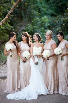 Photography : Tealily Photography | Bridesmaid Dresses : Sequin Gatsby Gown By White Runway Read More on SMP: http://www.stylemepretty.com/australia-weddings/2014/05/22/classic-chowder-bay-wedding/ #goldwedding #goldbridesmaids