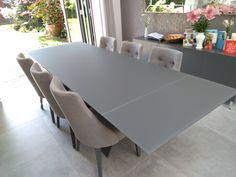 Extendable version of Xenon table in Matt Stone Glass top and Matt Stone legs. On the picture with our dining chairs FLORIDA in Comfy Graphite and Stone Matt legs. Available in other sizes and configurations. Delivered to our client in London. Dinning Table, Dining Chairs, Kitchen Diner Designs, Matt Stone, Leather Bed, Sofa Design, Modern Bedroom, Contemporary Furniture, Graphite