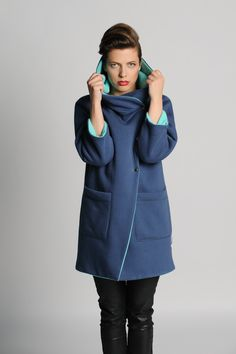 www.adatyte.com / #coat #woman #hooded #clothes #adatyte #doublesided #blue