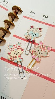 Cute Valentines  Fox planner clip/ book by ScrappydrewDesigns