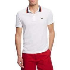 d83d30f59c548b Lacoste Striped Collar Polo (2.335 CZK) ❤ liked on Polyvore featuring men s  fashion