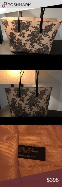 """Michael Kors Lace Emery Leather Tote, Large Brand new. Genuine Michael Kors (see label). Gorgeous soft oyster pink//tan color with rose imprinting on the shell. Can fit all manner of electronics (17"""" laptop, kindle, iPad, etc.), and then some. Michael Kors Bags Totes"""