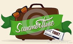 Illustration about Brown suitcase with a green ribbon around with Summertime text, sunglasses and ticket. Illustration of outdoors, vector, ticket - 73479798 Green Ribbon, Travel Bag, Ticket, Suitcase, Summertime, Seasons, Sunglasses, Brown, Illustration