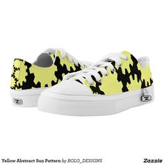 Yellow Abstract Sun Pattern Printed Shoes
