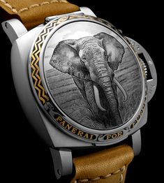 """Panerai Luminor 1950 Sealand For Purdey Gunmakers Engraved Watches - by Zen Love - see the different animal versions & learn more on aBlogtoWatch.com """"Just announced from Panerai is a new Luminor 1950 watch with an engraved hunter-style case made for historic British gunmaker Purdey. Panerai has previously worked with Purdey who is also under the Richemont group, and these new models are themed on Africa's 'Big Five' animals..."""""""