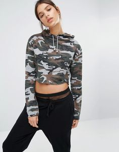 6b6aed894740c Image 1 of Missguided Camo Print Cropped Hoodie Cropped Hoodie Outfit, Camo  Hoodie, Camouflage