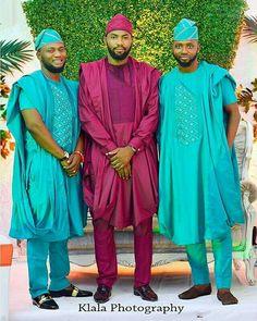 BellaNaija Weddings presents – Vol. 191 – The Latest Aso Ebi Styles African Attire For Men, African Men Fashion, African Wear, African Dress, Mens Fashion, African Outfits, African Lace, African Style, African Clothes