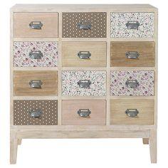 Cabinet commode 12 tiroirs en bois L 75 cm