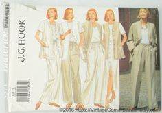 Butterick 3371 J.G. Hook Pattern Misses' Jacket, Vest, Skirt and Pants, Sewing Pattern, Size 6 - 8 - 10, UNCUT by vintagecornerbazaar. Explore more products on http://vintagecornerbazaar.etsy.com