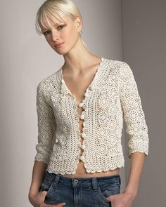 "This post was discovered by Mic ""Crochet vintage jacket PATTERN, detailed tutorial for every row, trendy crochet blouse pattern, crochet designer cardigan Crochet Shirt, Crochet Jacket, Crochet Cardigan, Knit Crochet, Crochet Bodycon Dresses, Black Crochet Dress, Crochet Vintage, Knit Art, Crochet Woman"